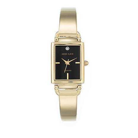 Anne Klein Goldtone Black Tank Dial Bracelet Watch
