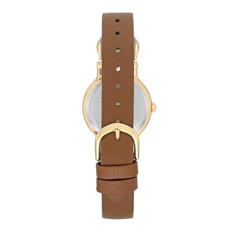 Anne klein goldtone champagne dial brown leather strap watch 8563479 hsn for Anne klein leather strap