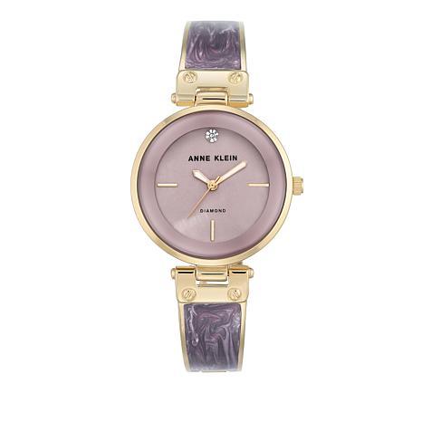 Anne Klein Goldtone Lavender Bezel Bracelet Watch