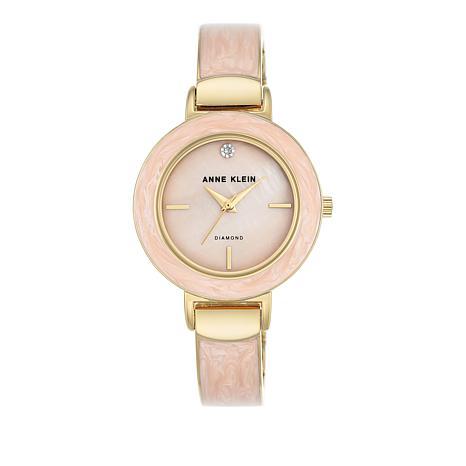 Anne Klein Goldtone Light Pink Bezel Bracelet Watch