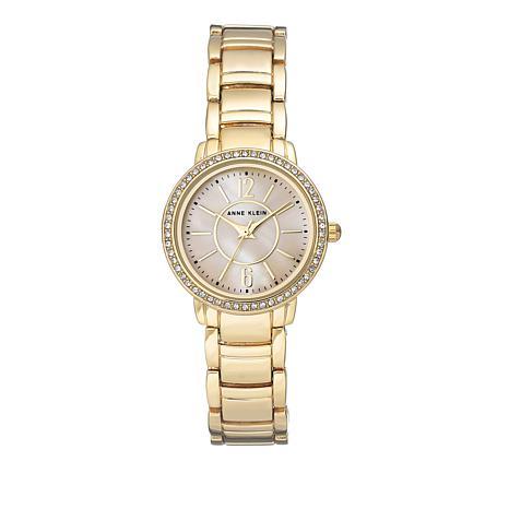 Anne Klein Goldtone Mother-of-Pearl Dial Bracelet Watch
