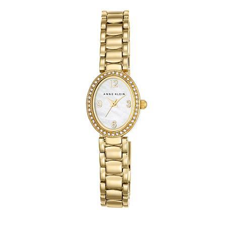 Anne Klein Goldtone Oval White Dial Bracelet Watch