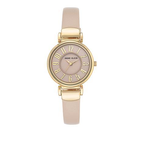 Anne Klein Goldtone Pink Faux Leather Strap Watch
