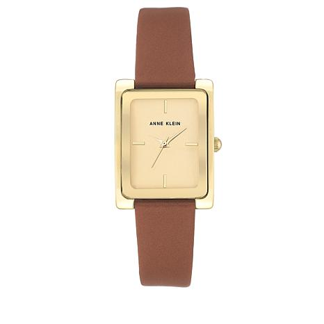 Anne Klein Goldtone Square Dial Brown Strap Watch