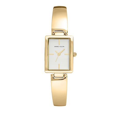 Anne Klein Goldtone White Tank Dial Bracelet Watch