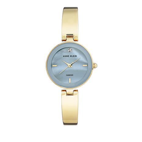 Anne Klein Light Blue Dial Goldtone Bracelet Watch