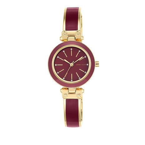 Anne Klein Red Enamel Semi-Bangle Watch