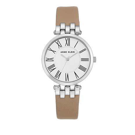 Anne Klein  Round Dial Tan Leather Strap Watch