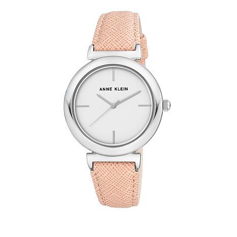 Anne Klein Silvertone Pink Faux Leather Strap Watch