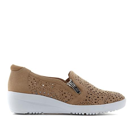 Anne Klein Sport Yvette Leather Perforated Zip Sneaker