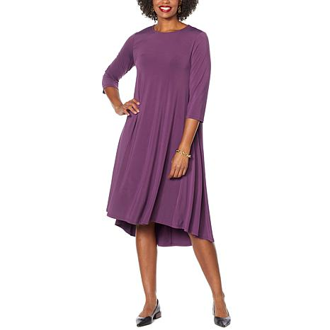 Antthony 3/4-Sleeve Hi-Low Hem Maxi Dress