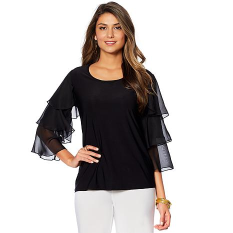 "Antthony ""Diamond Couture"" Ruffle Sleeve Top"