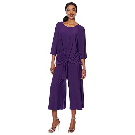 "Antthony ""Elda Collection"" 2-piece Top and Gaucho Pant Set"