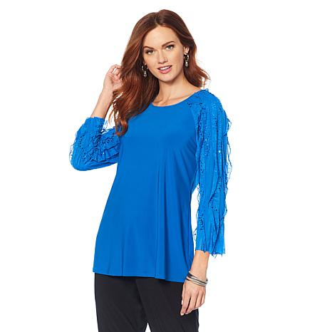 """Antthony """"Signature Classic"""" Ruffle-Sleeve Top"""
