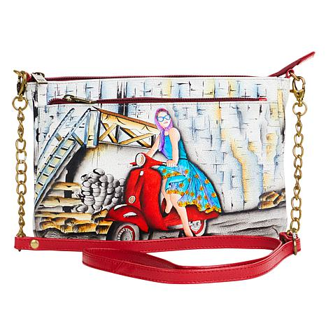 Anuschka Hand Painted Leather Double-Zip Crossbody