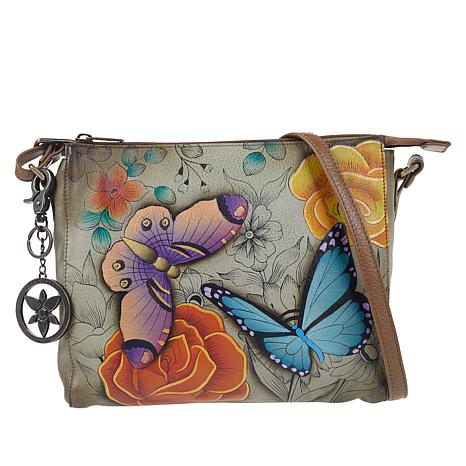 Anuschka Hand-Painted Leather Slim Crossbody Bag