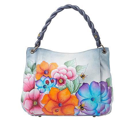 Anuschka Hand Painted Leather Slim Tote with Braided Handle