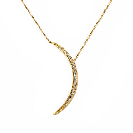Argento Vivo Cz Crescent Moon Drop Gold Plated Sterling