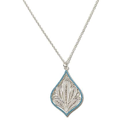 "Argento Vivo Filigree Drop Sterling Silver 16"" Necklace"