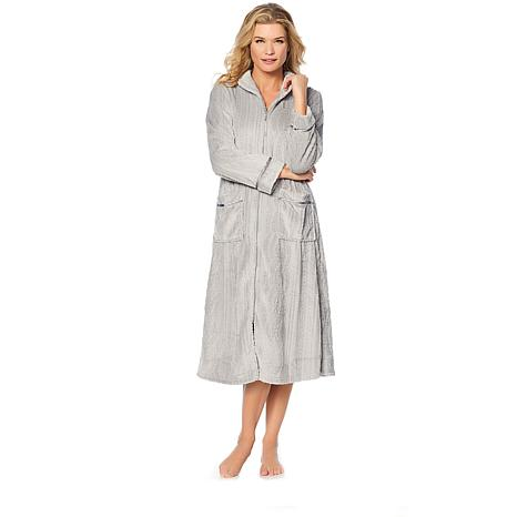 Aria Plush Sculpted Zip-Front Robe with Pockets
