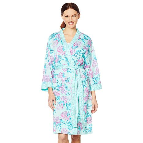 Aria Printed Jersey Short Wrap Robe with Pockets