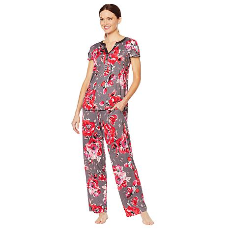 Aria Soft Touch Jersey PJ Set with Satin Trim