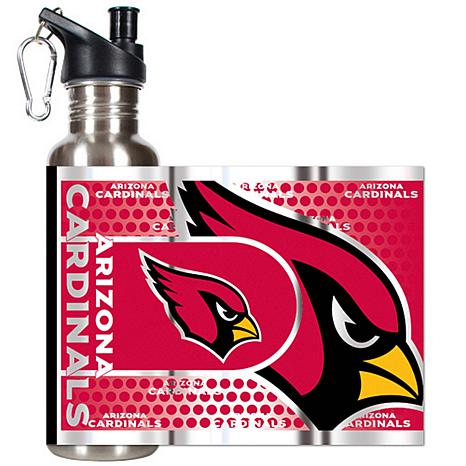Arizona Cardinals Stainless Steel Water Bottle with Metallic Graphics
