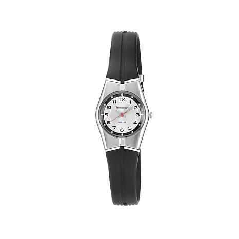 Armitron Women's Silvertone Dial Black Strap Watch
