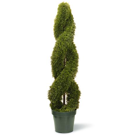 """Artificial Topiary Tree 48"""" Double Cedar Spiral in Green Growers Pot ..."""