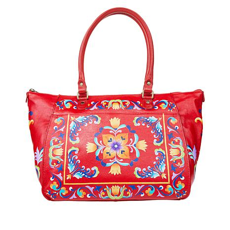 """""""As Is"""" Anuschka Hand-Painted Leather Tote with Organizer Wallet"""