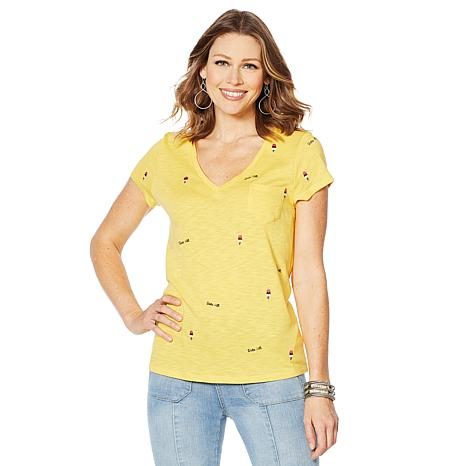 """""""As Is"""" G by Giuliana Embroidered V-Neck Tee"""