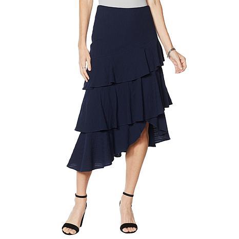 """As Is"" G by Giuliana Woven Ruffle Skirt"