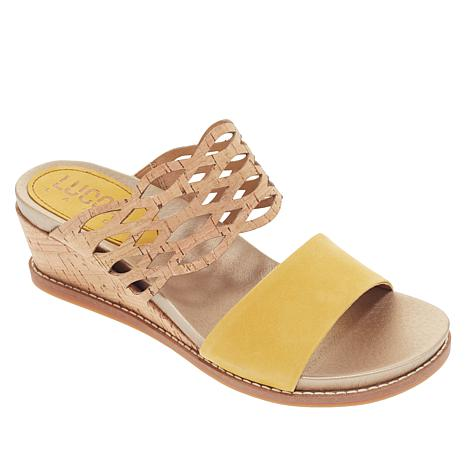"""""""As Is"""" Lucca Lane Wanette Leather and Cork Wedge Sandal"""