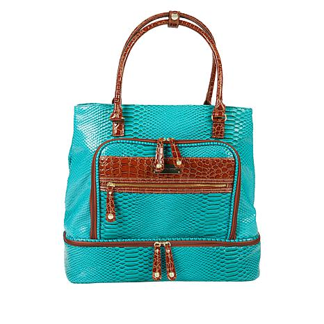 """""""As Is"""" Samantha Brown Croco-Embossed Insulated Drop Bottom Tote"""