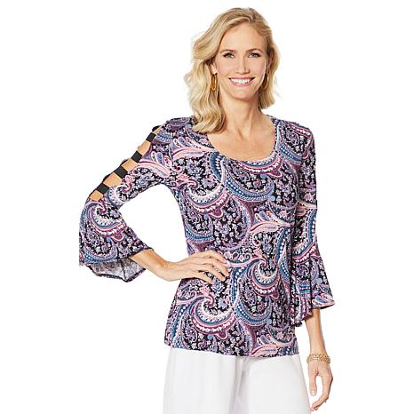 """""""As Is"""" Slinky® Brand Cutout-Sleeve Printed Tunic with Bell Cuffs"""