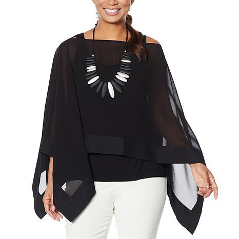 """""""As Is"""" WynneLayers Chiffon Convertible Printed Poncho"""
