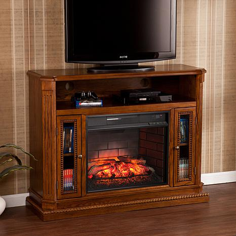Atkinson Infrared Electric Fireplace Media Stand - Oak