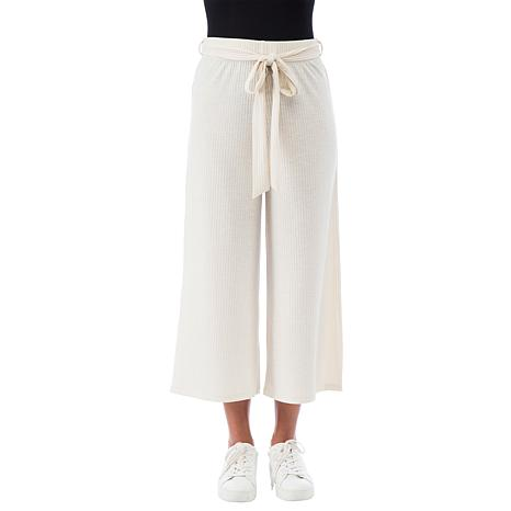B Collection by Bobeau Ribbed Knit Tie-Waist Cropped Pant