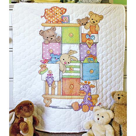 "Baby Hugs Quilt Stamped Cross Stitch Kit - 34"" x 43"" Baby Drawers"