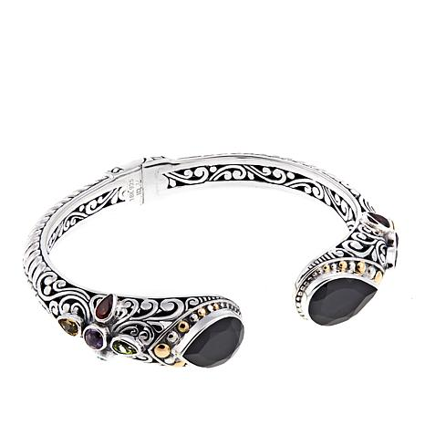 Bali Designs 12.78ctw Black Spinel & Multigemstone Cuff Bracelet