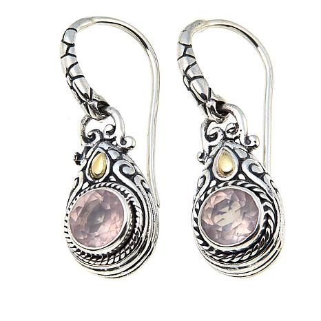 Bali Designs 1 5ctw Round Rose Quartz Drop Earrings