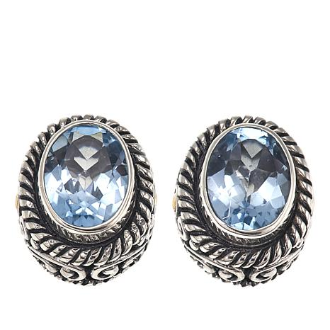 Bali Designs 2-Tone 3ctw Sky Blue Topaz Oval-Design Stud Earrings