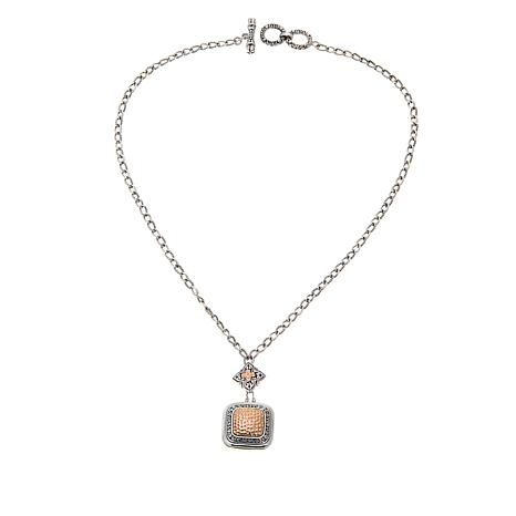 Bali Designs 2-Tone Rose and Hammered Pendant Necklace