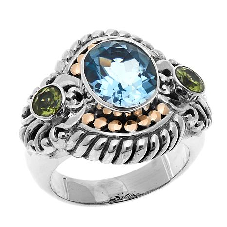 Bali Designs 3.44ctw Sky Blue Topaz and Peridot Ring