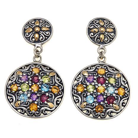 Bali Designs 3.82ctw Multigemstone Medallion Earrings