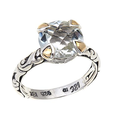 Bali Designs 4.19ct White Topaz 2-Tone Ring