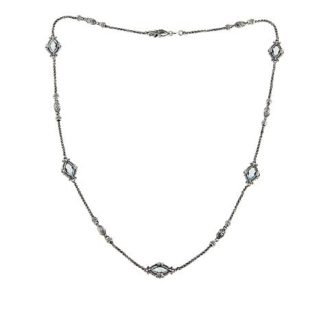 """Bali Designs 5.35ctw Sky Blue Topaz Marquise Station 22"""" Necklace"""