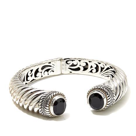 Bali Designs 8.7ctw  Black Spinel 2-Tone Cuff