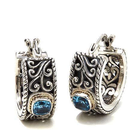 Bali Designs Blue Topaz Small Scroll Hoop Earrings