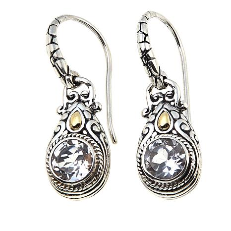 Bali Designs by Robert Manse 1.8ctw  Round White Topaz Drop Earrings